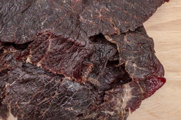 teriyaki beef jerky closeup